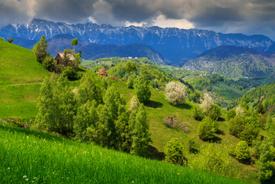 Carpathian mountains view in Romania