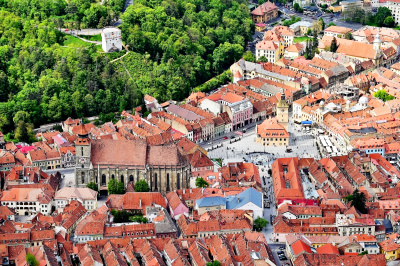 Brasov old town seen from Tampa mountain
